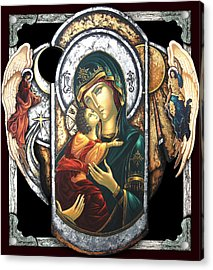 Mother Of God Acrylic Print by Iosif Ioan Chezan