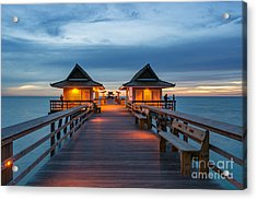 Acrylic Print featuring the photograph Naples Pier by Hans- Juergen Leschmann