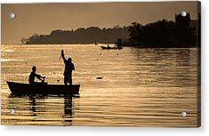 Net Fishing At Sunset Acrylic Print by Dane Strom
