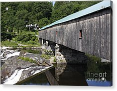 New Hampshire Covered Bridge Acrylic Print by Stan and Anne Foster