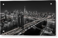 New York City, Manhattan Bridge At Night Acrylic Print