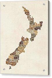 New Zealand Typography Text Map Acrylic Print