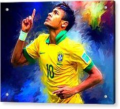 Neymar Football Soccer Landscape Art Painting Acrylic Print by Andres Ramos