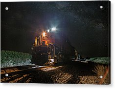 Acrylic Print featuring the photograph Night Train  by Aaron J Groen