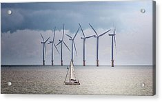 North Sea Wind Farm Acrylic Print by Martin Newman