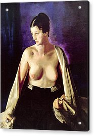 Nude With White Shawl Acrylic Print by George Bellows