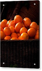 oranges in basket Rome italy Acrylic Print by Xavier Cardell