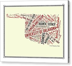 Ou Word Art University Of Oklahoma Acrylic Print