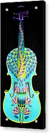 Painted Violin Acrylic Print by Elizabeth Elequin