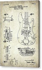 Patent Drawing For The 1959 Electromagnetic Pickup For Lute Type Musical Instrument By C. L. Fender Acrylic Print by Jose Elias - Sofia Pereira