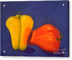2 Peppers Acrylic Print by Mary Erbert