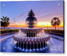 Pineapple Fountain Charleston Sc Sunrise Acrylic Print