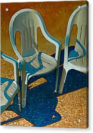 Plastic Patio Chairs Acrylic Print by Doug Strickland