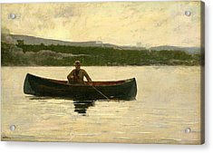 Playing A Fish Acrylic Print by Winslow Homer