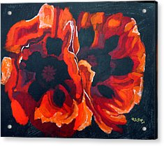 Acrylic Print featuring the painting 2 Poppies by Richard Le Page