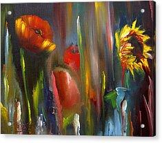 Poppy And Sunflower Acrylic Print by Jeff Hunter