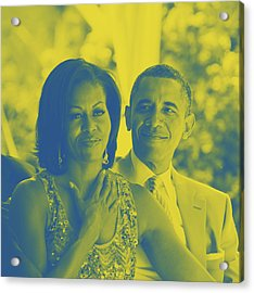 Portrait Of Barack And Michelle Obama Acrylic Print