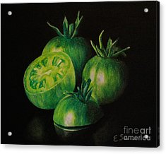 Pre-fried Green Acrylic Print by Elizabeth Scism