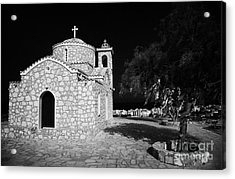 Prophet Elias Church Profitis Ayios Elias With Prayer Rag Trees Hilltop Protaras Republic Of Cyprus Acrylic Print