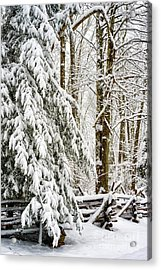 Acrylic Print featuring the photograph Rail Fence And Snow by Thomas R Fletcher