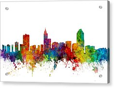Raleigh North Carolina Skyline Acrylic Print by Michael Tompsett