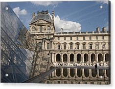 Reflection Of The Louvre Acrylic Print by Carl Purcell