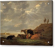 River Landscape With Cows Acrylic Print