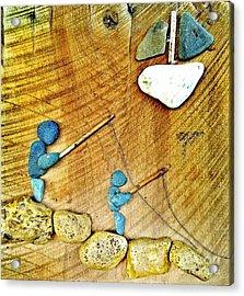 Rock Art Fishing Friends Acrylic Print