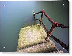 Rusty Handrail Going Down On Water Acrylic Print
