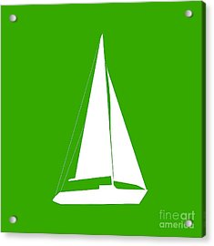 Sailboat In Green And White Acrylic Print