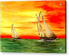 2 Sailboats Acrylic Print by Michael Vigliotti