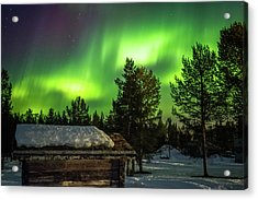 Sapmi Hut Under The Northern Lights Karasjok Norway Acrylic Print