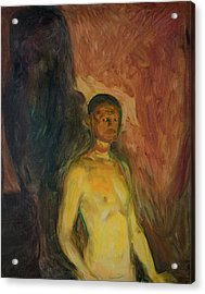 Self-portrait In Hell Acrylic Print by Edvard Munch