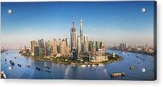 Shanghai Skyline With Modern Urban Skyscrapers Acrylic Print by Anek Suwannaphoom