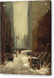 Snow In New York Acrylic Print by Robert Henri