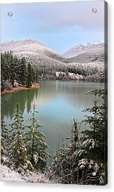 Snowy Green Lake Sunset Whistler B.c Canada Acrylic Print by Pierre Leclerc Photography