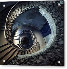 Spiral Staircase With Ornamented Handrail Acrylic Print by Jaroslaw Blaminsky