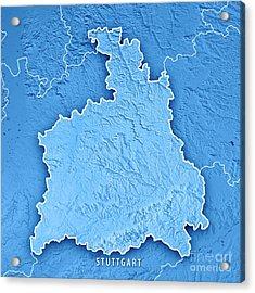 Stuttgart Administrative Region Baden-wurttemberg 3d Render Top Acrylic Print