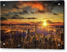 Sunrise Over Victoria Harbor As Viewed Atop Victoria Peak Acrylic Print by Anek Suwannaphoom