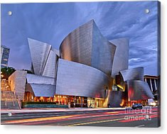 Sunset At The Walt Disney Concert Hall In Downtown Los Angeles. Acrylic Print