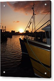 Sunset Over Sutton Harbour Plymouth Acrylic Print by Chris Day