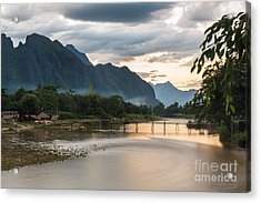 Sunset Over Vang Vieng River In Laos Acrylic Print