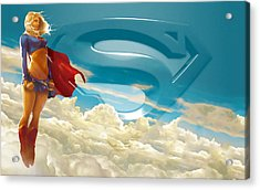 Supergirl Art Acrylic Print by Marvin Blaine