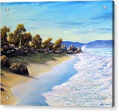 Surf Surge Acrylic Print by John Cocoris