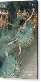 Swaying Dancer  Dancer In Green Acrylic Print by Edgar Degas