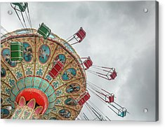 Swings In Motion With Stormy Sky Acrylic Print by Erin Cadigan
