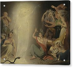 The Ghost Of Clytemnestra Awakening The Furies Acrylic Print by John Downman