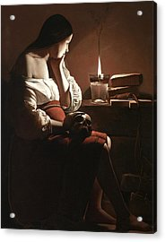 The Magdalen With The Smoking Flame Acrylic Print by Georges de la Tour