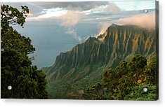Acrylic Print featuring the photograph Napali Coast Sunset by Stephen  Vecchiotti