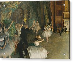 The Rehearsal Of The Ballet Onstage Acrylic Print by Edgar Degas